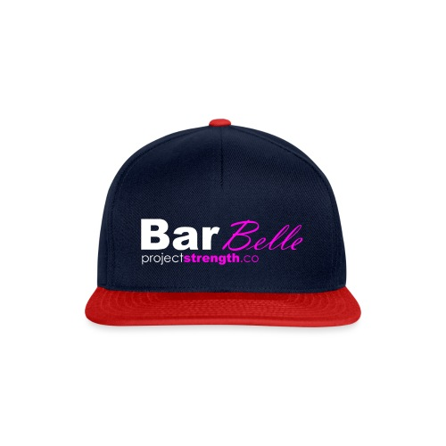 projectstrength.co - barbelle logo - white/pink - Snapback Cap