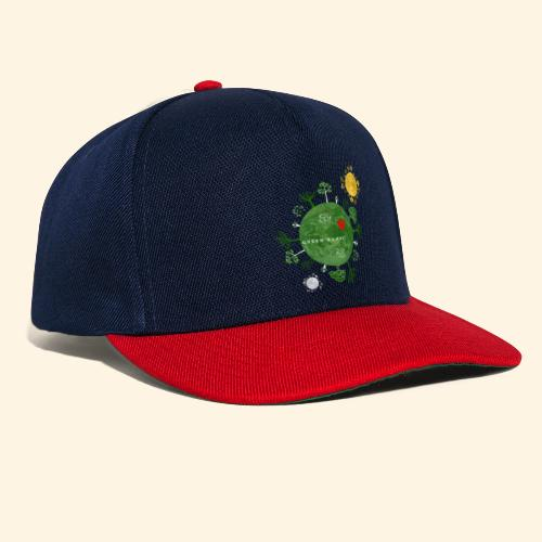 Trees on Green Planet with Sun Moon - Snapback cap
