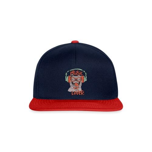 Music Lover - Happy Pug Dog Head Vintage style - Snapback Cap