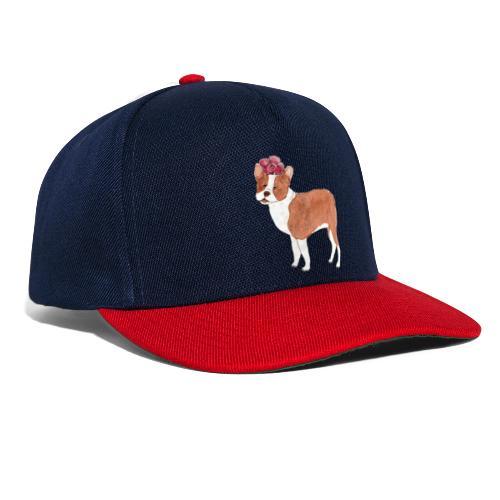 boston terrier with flower - Snapback Cap