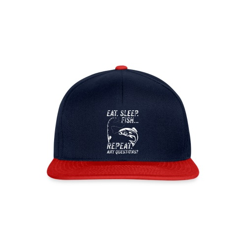 EAT SLEEP FISH REPEAT ANY QUESTIOINS? - Snapback Cap