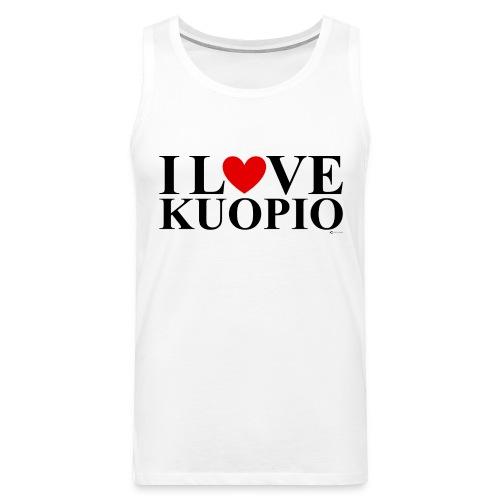 I LOVE KUOPIO (koko teksti, musta) - Miesten premium hihaton paita