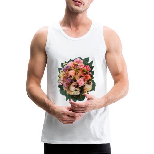 Ritratto leone fiori in doppia esposizione - Canotta premium da uomo