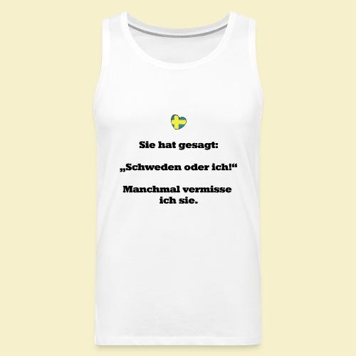 T-Shirt Schweden Herz schwarz für ihn - Männer Premium Tank Top