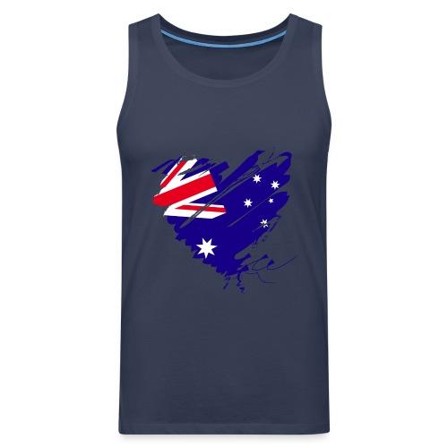 Australien Sydney Kontinent Grunge Herz Fahne - Männer Premium Tank Top