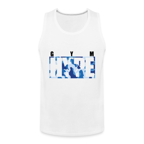 gymhype-shirt-2-blue-camo - Men's Premium Tank Top
