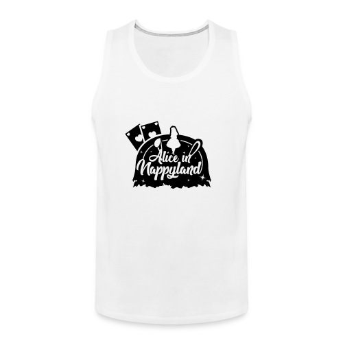 Alice in Nappyland TypographyWhite with background - Men's Premium Tank Top