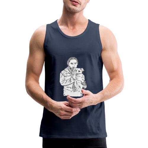 Mann mit Hund auf dem Arm - Männer Premium Tank Top