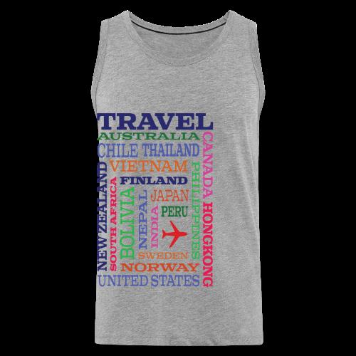 Travel Places design - Miesten premium hihaton paita