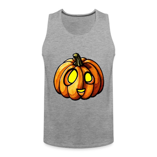 Pumpkin Halloween watercolor scribblesirii - Miesten premium hihaton paita
