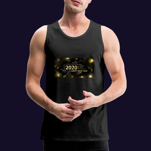 90911595 black golden new year card with happy new - Männer Premium Tank Top