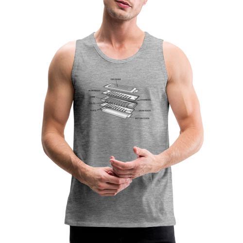 Exploded harmonica - black text - Men's Premium Tank Top