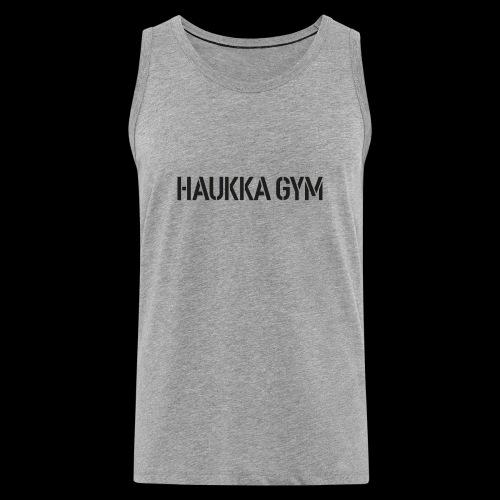 HAUKKA GYM text - Miesten premium hihaton paita