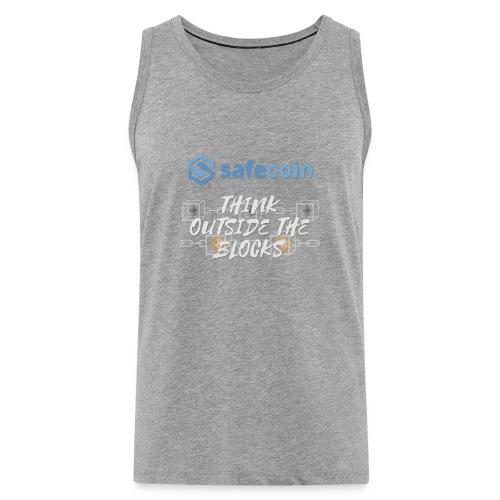 SafeCoin; Think Outside the Blocks (blue + white) - Men's Premium Tank Top