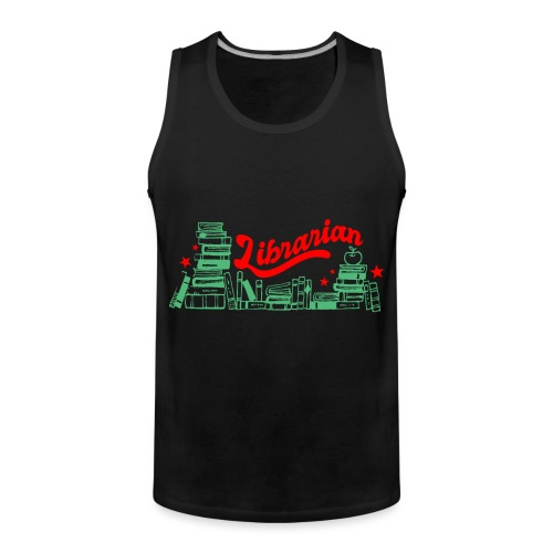 0322 Stack of books Librarian bookshelf - Men's Premium Tank Top