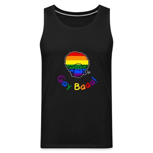 Gay Baaa! Pride Sheep (testo arcobaleno edizione nera) - Canotta premium da uomo