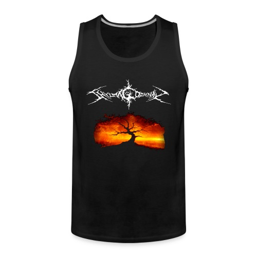 Silhouette of tree with logo white png - Men's Premium Tank Top