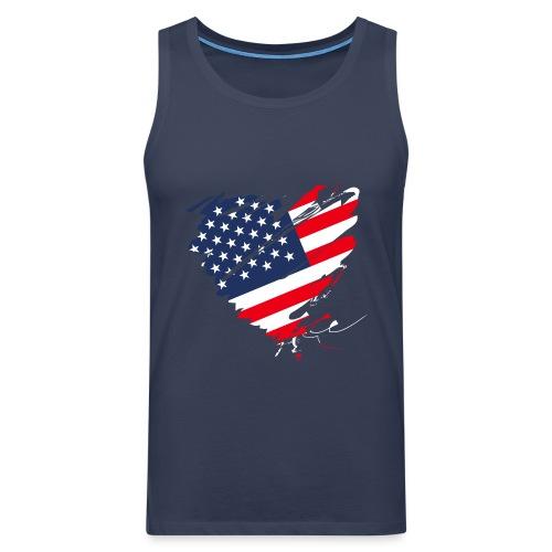 USA Amerika Sterne und Streifen Herz Fahne Flagge - Männer Premium Tank Top