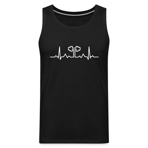 Herzschlag-Hantel, Bodybuilding, Crossfit, Fitness - Männer Premium Tank Top