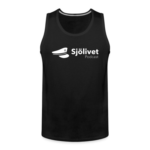 Sjölivet podcast - Vit logotyp - Premiumtanktopp herr