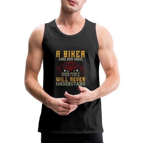 A biker and his bike. - Men's Premium Tank Top