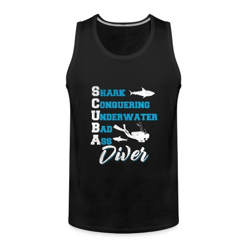 Shark Conquering Underwater Scuba Diver - Männer Premium Tank Top