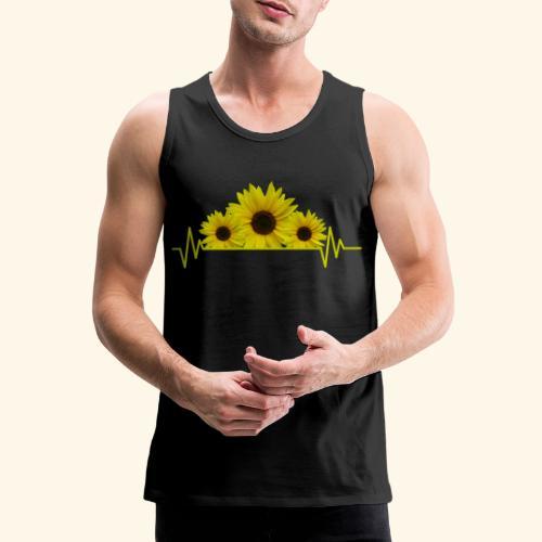 Sonnenblumen Herzschlag Sonnenblume Blumen Blüten - Männer Premium Tank Top