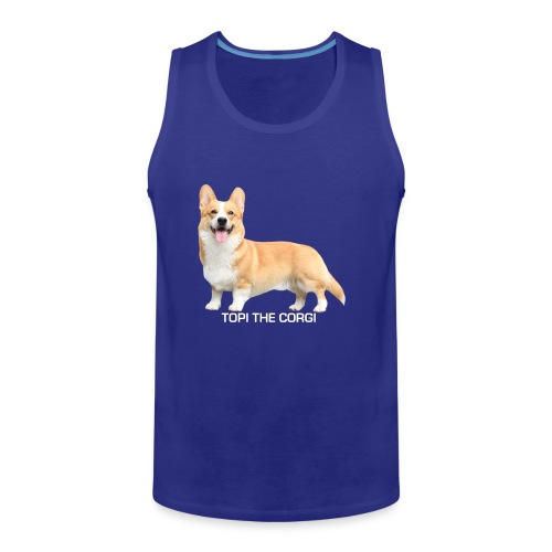 Topi the Corgi - White text - Men's Premium Tank Top