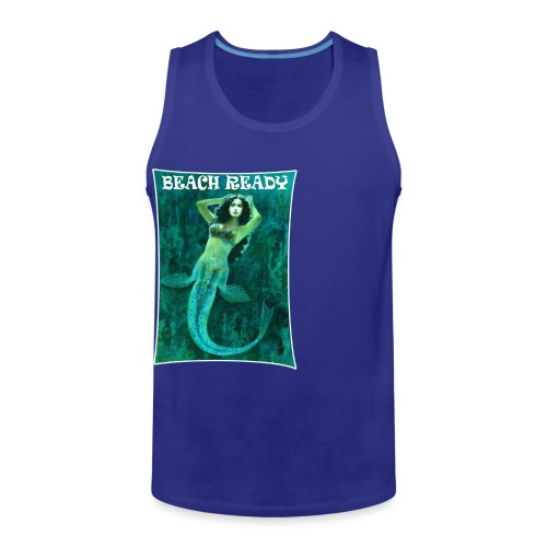 Vintage Pin-up Beach Ready Mermaid - Men's Premium Tank Top