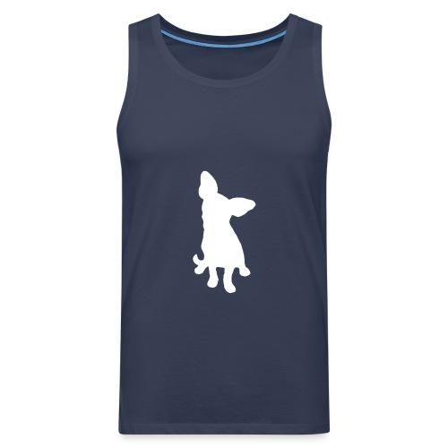 Chihuahua istuva valkoinen - Miesten premium hihaton paita