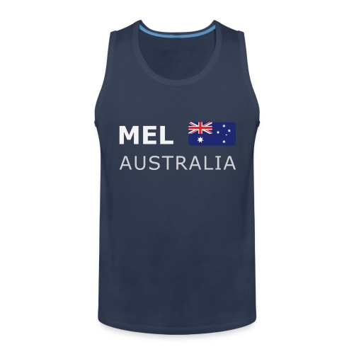 MEL AUSTRALIA white-lettered 400 dpi - Men's Premium Tank Top