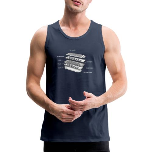 Exploded harmonica - white text - Men's Premium Tank Top