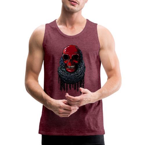 RED Skull in Chains - Men's Premium Tank Top