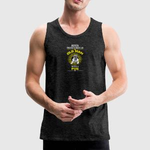 Old man with a pug - Men's Premium Tank Top