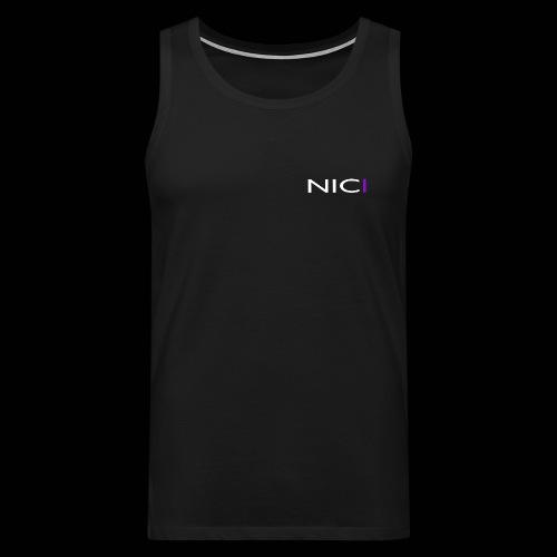 NICI logo WHITE - Miesten premium hihaton paita