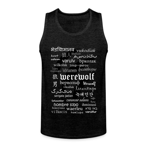 Werewolf in 33 Languages.png - Men's Premium Tank Top