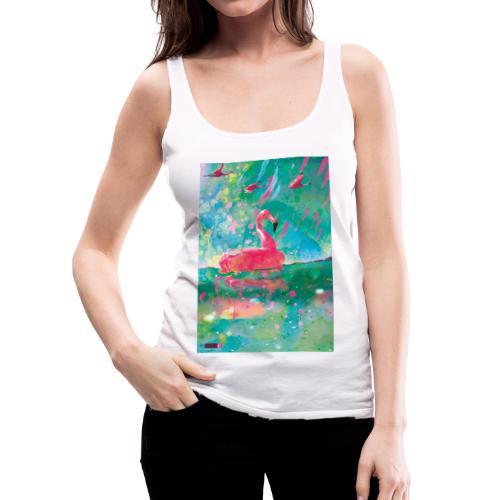 05 Flamingo Summer Dream Poster Margarita Pop Art - Frauen Premium Tank Top