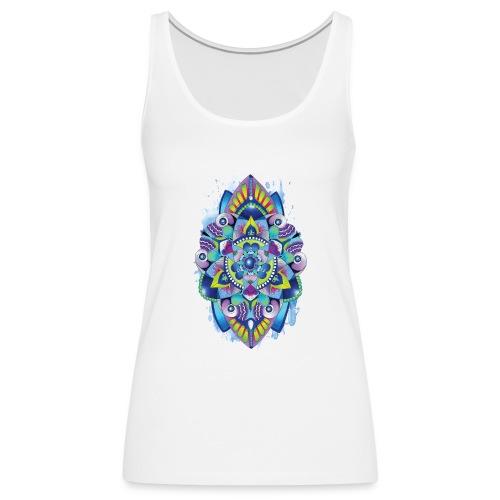 Zentangle watercolour Splash Mandala Design - Women's Premium Tank Top