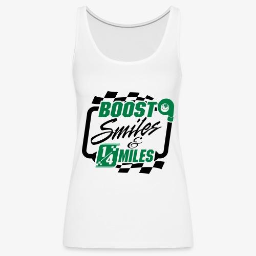 Boost Smiles & Quarter Miles Green & Black Print - Women's Premium Tank Top