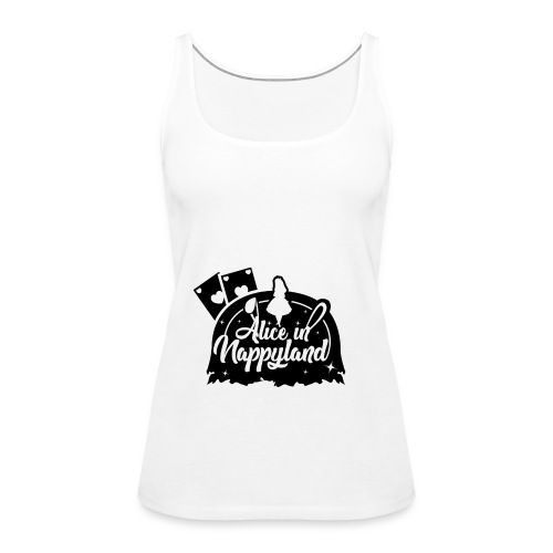 Alice in Nappyland TypographyWhite with background - Women's Premium Tank Top