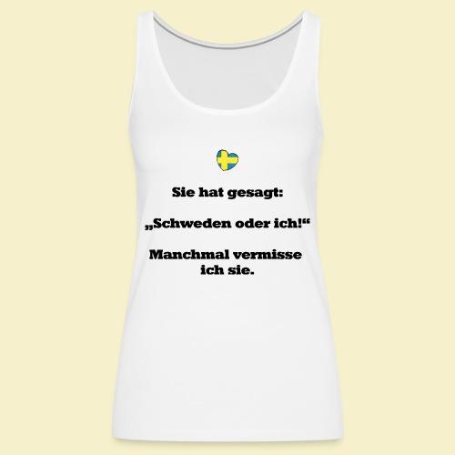 T-Shirt Schweden Herz schwarz für ihn - Frauen Premium Tank Top
