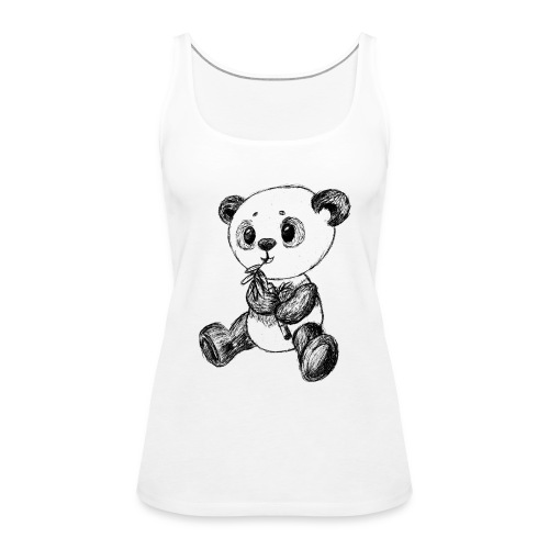 Panda bjørn sort scribblesirii - Dame Premium tanktop