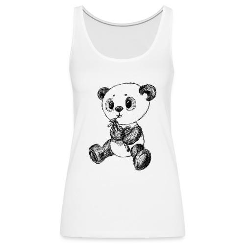 Panda Karhu musta scribblesirii - Naisten premium hihaton toppi