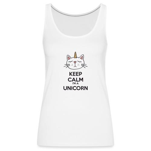 Keep calm cat licorne - Women's Premium Tank Top