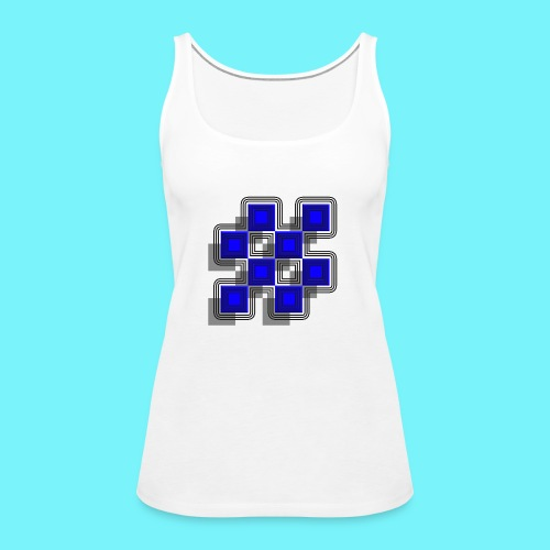 Blue Blocks with shadows and perimeters - Women's Premium Tank Top