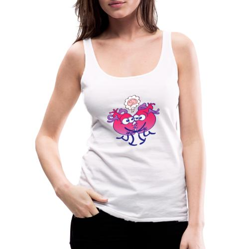 Hearts in love thinking too much when kissing - Women's Premium Tank Top