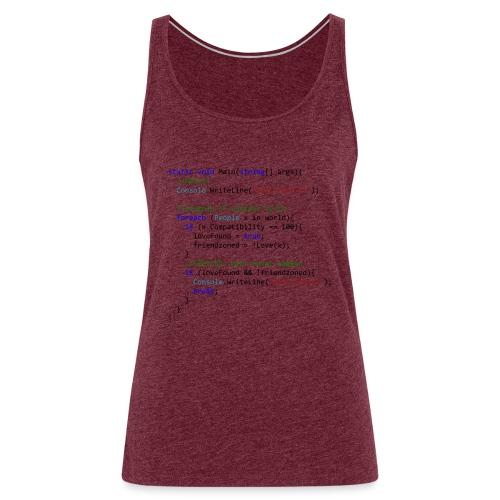 Love seen by a C# programmer - Canotta premium da donna