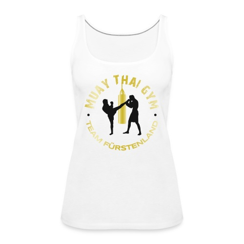 Logo MUAY THAI GYM Team Fuerstenland gold schwarz - Frauen Premium Tank Top