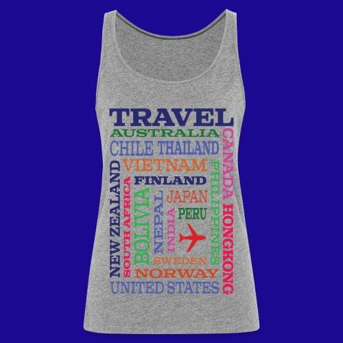 Travel Places design - Naisten premium hihaton toppi