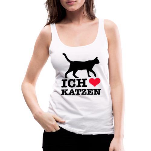 Ich liebe Katzen mit Katzen-Silhouette - Frauen Premium Tank Top